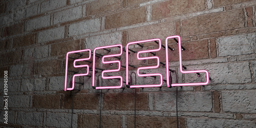 Photo  FEEL - Glowing Neon Sign on stonework wall - 3D rendered royalty free stock illustration