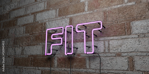 Fotografie, Obraz  FIT - Glowing Neon Sign on stonework wall - 3D rendered royalty free stock illustration