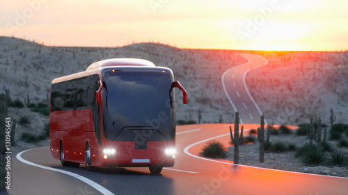 Fotomural  touristic red bus on highway
