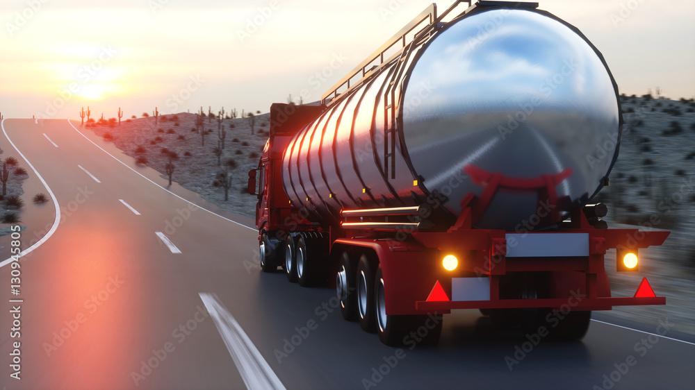 Fototapety, obrazy: Gasoline tanker, Oil trailer, truck on highway. Very fast driving. 3d rendering.
