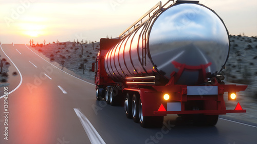 Gasoline tanker, Oil trailer, truck on highway. Very fast driving. 3d rendering.