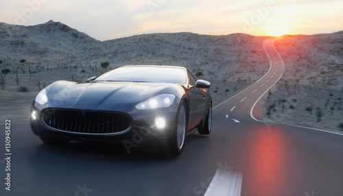 Fotografie, Obraz  Black sport car on road, highway