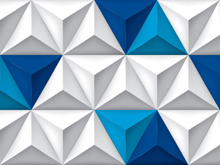 FototapetaVector triangles retro background, blue color inserts, mesh gradient, geometric wallpaper, gray pattern