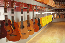 Guitars In Music Shop
