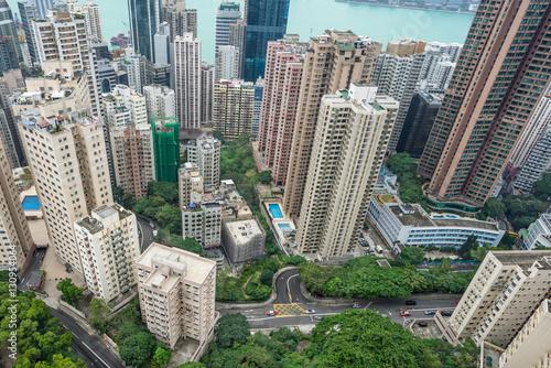 Hong Kong apartment block in China. Poster