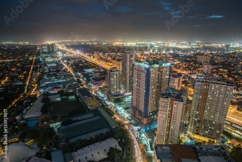 Manila city skyline nightview