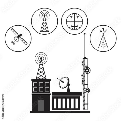 Foto auf AluDibond Gezeichnet Straßenkaffee building broadcasting network service vector illustration eps 10