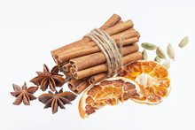 Dried Orange, Anise Stars And Cinnamon Sticks Isolated On White Background