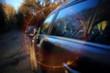 background blur road autumn sunbeams glare
