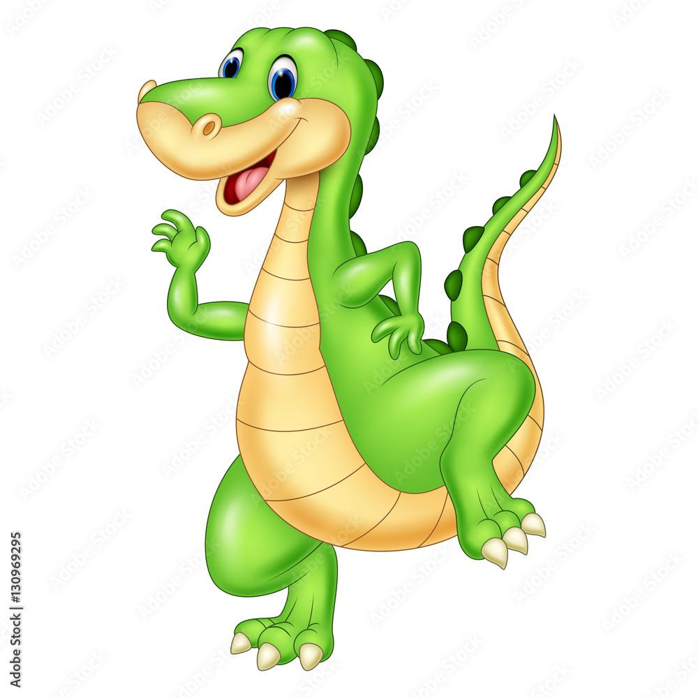 Kreskówka zielony dinozaur