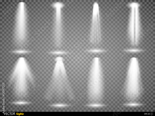 Staande foto Licht, schaduw Vector light sources, concert lighting, stage spotlights set. Concert spotlight with beam, illuminated spotlights for web design illustration