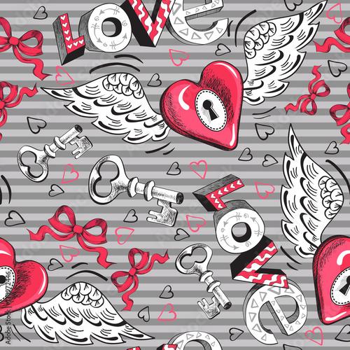Materiał do szycia Walentynki winged wzór serca