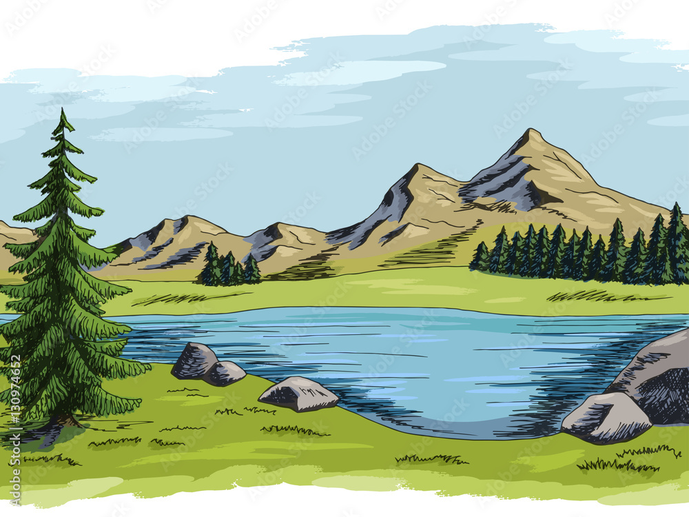 Mountain lake graphic art color landscape illustration vector