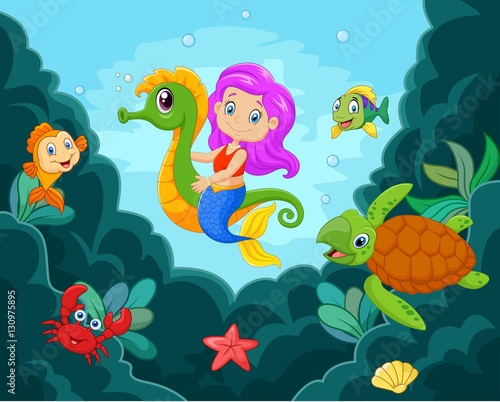 Photographie  Cartoon little mermaid playing with seahorse