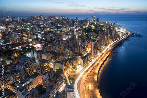 Canvas Aerial View of Beirut Lebanon, City of Beirut, Beirut city scape