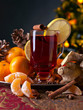 The mulled wine with spices and tangerines