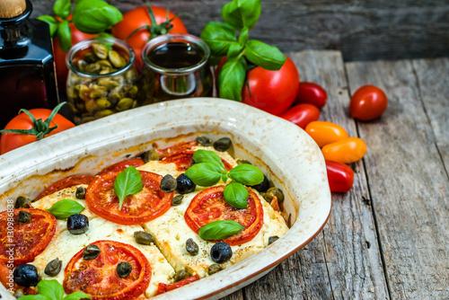 Vegetarian food plate, greek cuisine of mediterranean diet