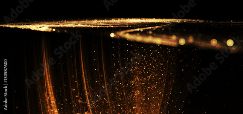 Deurstickers Fractal waves Beautiful gold wave bokeh on the black background for art projects, business, banner, template, card
