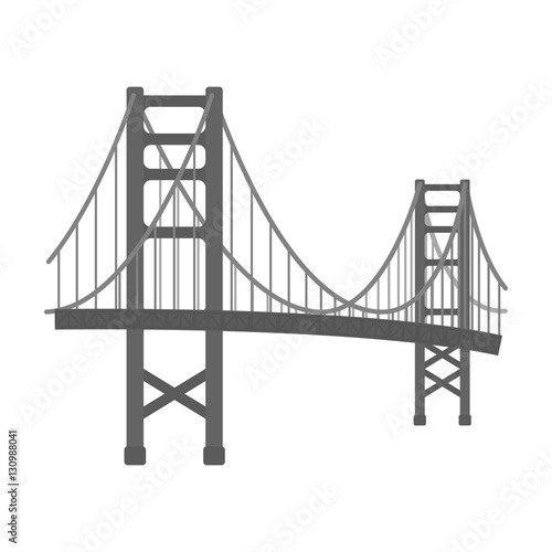 Golden Gate Bridge icon in monochrome style isolated on white background фототапет