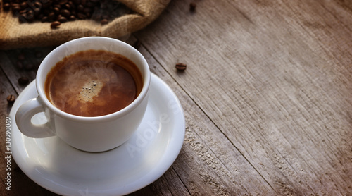Foto op Plexiglas Chocolade Cup of coffer over wooden surface - Copyspace