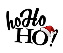 Isolated Black Ho-ho-ho! Text With Santa's Red Hat On White Back