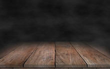 Old Wood Plank With Smoke In The Dark Background.