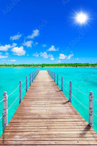 Canvas Prints Bridge wooden bridge juts out into of the sea