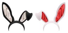 Black And White Rabbit Ears Mask