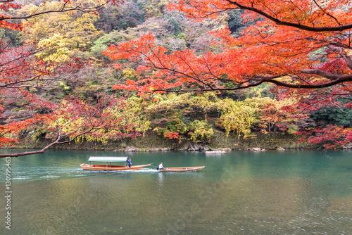 Poster Kyoto Sailing boat in autumn, Arashiyama, Kyoto, Japan