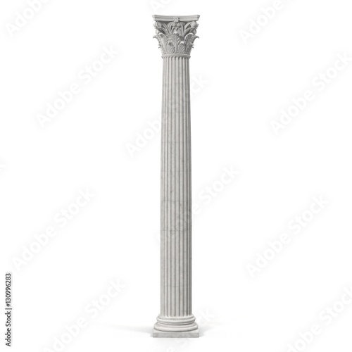 Fotografia Corinthian Order Column on white. 3D illustration