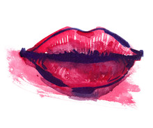 Big Bright Pink Lips And A Smear Of Pale Pink Color Painted In Watercolor On Clean White Background