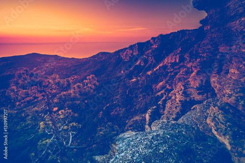 Mountain range at sunset. Carpathian mountains, Ukraine