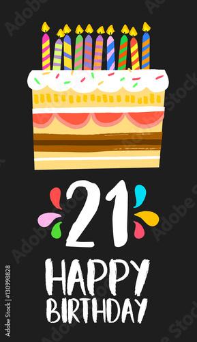 Photo  Happy Birthday cake card 21 twenty one year party