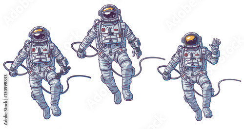 Vector set of illustrations cosmonauts Fototapeta