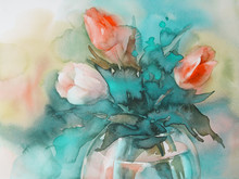 Red Tulips On Green Background Watercolor