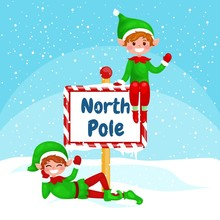 Vector Christmas Illustration Elf  With A North Pole Sign. New Year Vector Greeting Card