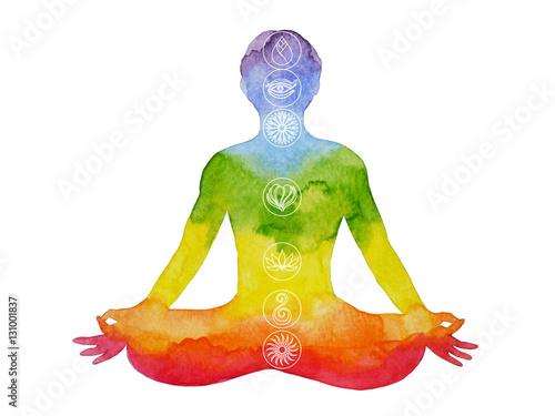 Obraz na plátně  lotus pose yoga with mudra hand, watercolor painting, abstract aura chakra power
