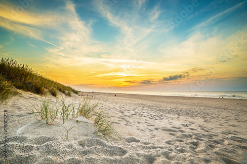 Staande foto Strand Sand dunes against the sunset light on the beach in northern Poland