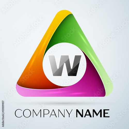 Letter W Vector Logo Symbol In The Colorful Triangle Vector