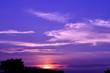 Leinwandbild Motiv Twilight sky with flurry clouds before sunset, camera white bala