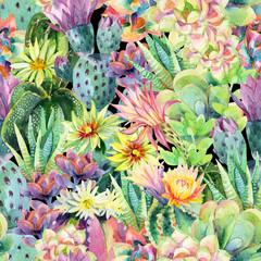 Fototapeta Egzotyczne Watercolor blooming cactus background