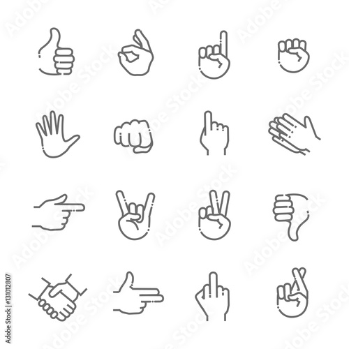 Hand gestures thin line icon set