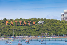 Letters Pattaya Is Located On A Hill. A Symbol Of The City.