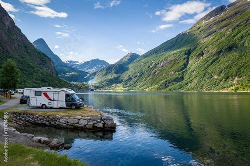 Poster Scandinavie Camping at Geiranger fjord, Norway.