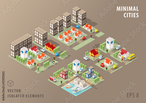 Fotografía  Set of Isolated Isometric Minimal City Maps