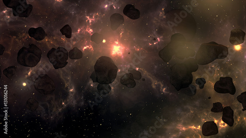 A Very Spectacular and Cinematic Asteroid Field in Outer Space G Wallpaper Mural