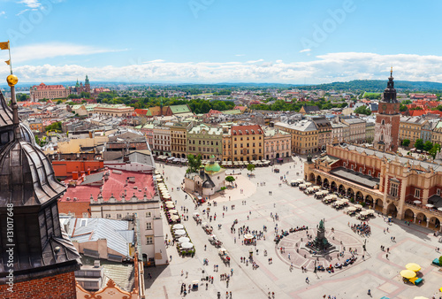 Fotobehang Krakau Aerial view on the central square and Sukiennice in Krakow. Market Square from the tower of the church of St. Mary. Poland. Cloth Hall.