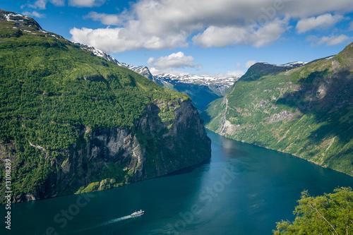 Fotografie, Obraz  Cruise liner at Geiranger fjord, Norway.