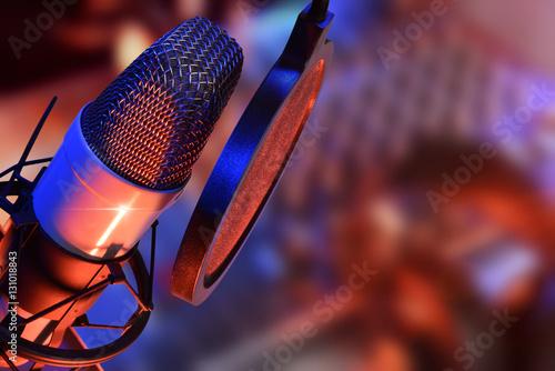 Studio microphone with headphones live production Tapéta, Fotótapéta