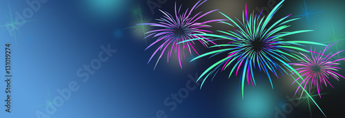 new year banner background with colorful and fireworks